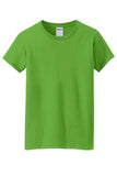 Gildan Cotton Tee Shirt Ladies Custom Embroidered 5000L Electric Green