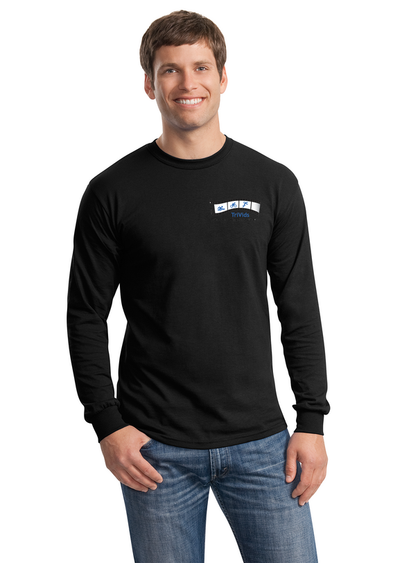 Gildan Long Sleeve Shirt Cotton Custom Embroidered 5400 Black