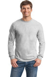Gildan Long Sleeve Shirt Cotton Custom Embroidered 5400 Light Grey