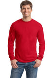 Gildan Long Sleeve Shirt Cotton Custom Embroidered 5400 Red