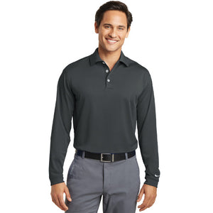 Tiptree St Nike Tall Long Sleeve Dri FIT Stretch Polo Custom Embroidered 604940 Anthracite