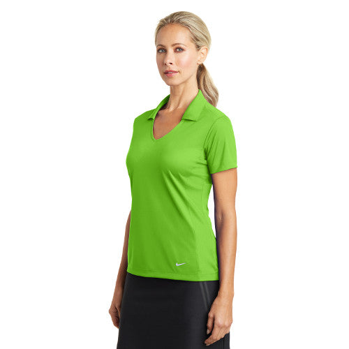 Nike Dri FIT Ladies Vertical Mesh Polo Custom Embroidered 637165 Action Green