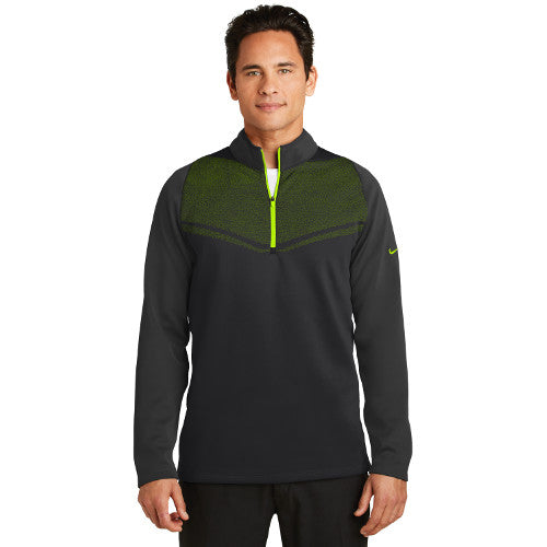 Nike Therma FIT Half Zip Cover up Custom Embroidered 779803 Black Volt