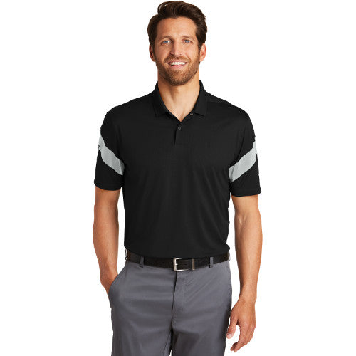 Nike Dri FIT Commander Polo Custom Embroidered 881657 Black Wolf Grey