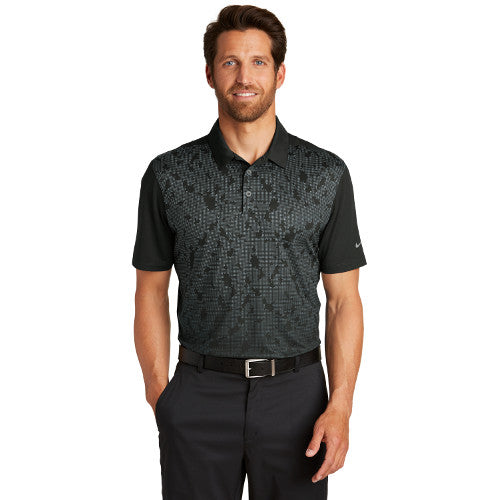 Nike Dri FIT Mobility Camo Polo Custom Embroidered  881658 Black Dark Grey