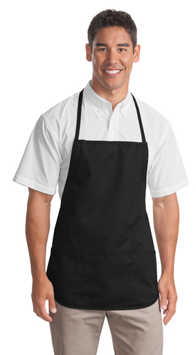 Port Authority Medium Length Apron Custom Embroidered A525 Black