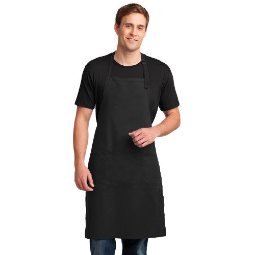 Port Authority Easy Care Extra Long Bib Apron With Stain Release Custom Embroidered A700 Black