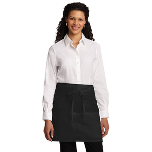 Port Authority Easy Care Half Bistro Apron Stain Release Custom Embroidered A706 Black