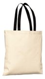 Port Company Budget Tote Natural Black Custom Embroidered B150