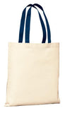 Port Company Budget Tote Natural Navy Custom Embroidered B150