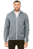Bella Canvas Full Zip Hoodie Athletic Grey Custom Embroidered BC3739