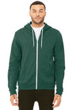 Bella Canvas Full Zip Hoodie Heather Forest Custom Embroidered BC3739