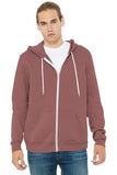 Bella Canvas Full Zip Hoodie Mauve Custom Embroidered BC3739