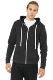 Bella Canvas Full Zip Hoodie Charcoal Black Triblend Custom Embroidered BC3909
