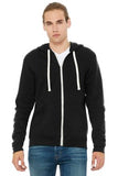 Bella Canvas Full Zip Hoodie Black Triblend Custom Embroidered BC3909