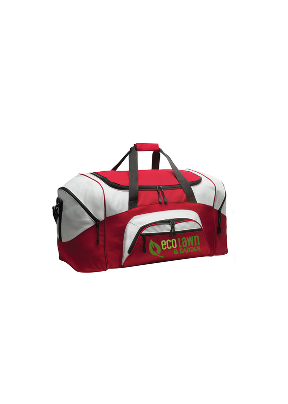 Port Company Sport Colorblock Duffle Bag Red Grey Custom Embroidered BG99