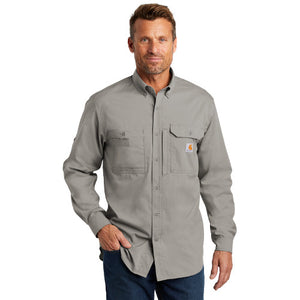 Carhartt Solid Long Sleeve Button Up  Custom Embroidered CT102418 Asphalt