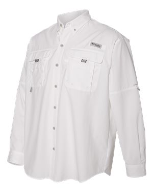 Columbia Bahama II Long Sleeve Shirt Custom Embroidered 101162 White