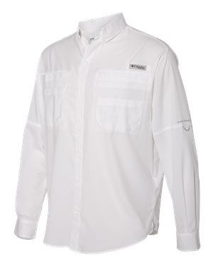Columbia Tamiami II Long Sleeve Shirt Custom Embroidered 128606 White