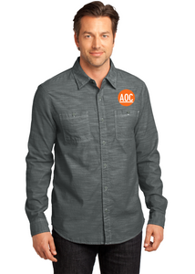 District Made Long Sleeve Button Up Grey Custom Embroidered DM3800