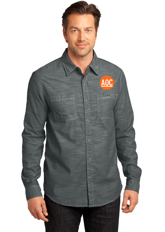 Mount Falcon - District Made® - Mens Long Sleeve Washed Woven Embroidered Shirt (DM3800)