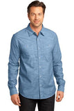 District Made Long Sleeve Button Up Light Blue Custom Embroidered DM3800