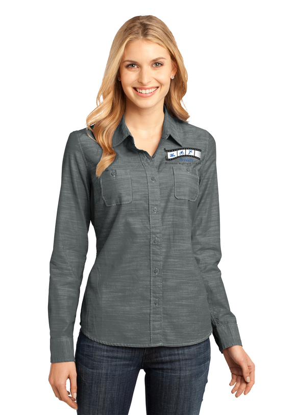 District Made Ladies Long Sleeve Shirt Custom Embroidered DM4800 Grey