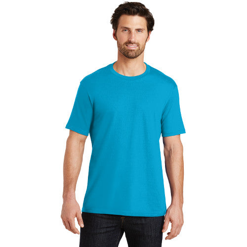 District Made Men Crew T Shirt Bright Turquoise Custom Embroidered DT104