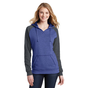 District Womans Lightweight Fleece Raglan Hoodie Custom Embroidered DT296 Royal Charcoal