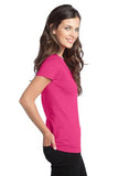 District  Ladies V neck Dark Fuchsia Custom Embroidered DT5501