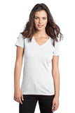 District  Ladies V neck White Custom Embroidered DT5501