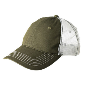 Custom Embroidered Olive and White Mesh Hat District DT607