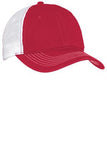 Custom Embroidered Red and White Mesh Hat District DT607