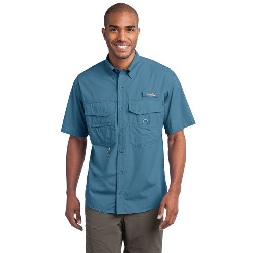 Eddie Bauer Short Sleeve Fishing Shirt Custom Embroidered EB608 Blue Gill