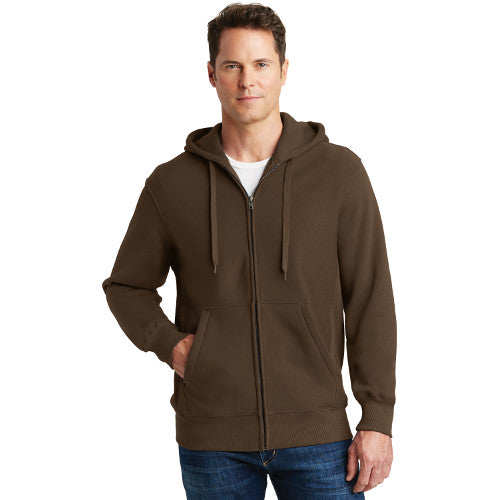 Sport Tek Full Zip Hoodie Brown Custom Embroidered F282