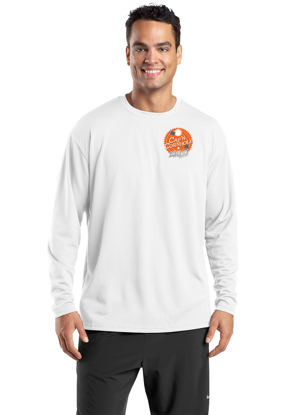 Sport Tek Dri Mesh Long Sleeve Shirt White Custom Embroidered K368