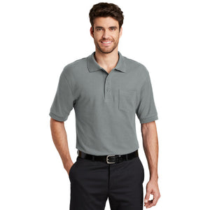 Port Authority Polo With Pocket Cool Grey Custom Embroidered K500p