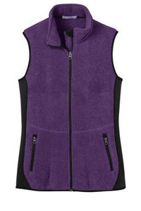 Port Authority Full Fleece Zip Vest Purple Custom Embroidered L228