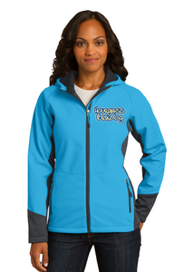 Port Authority Ladies Hooded Jacket Cyan Blue and Grey Custom Embroidered L319