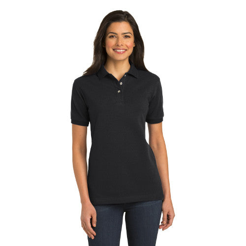 Port Authority Ladies Knit Polo Black Custom Embroidered L420
