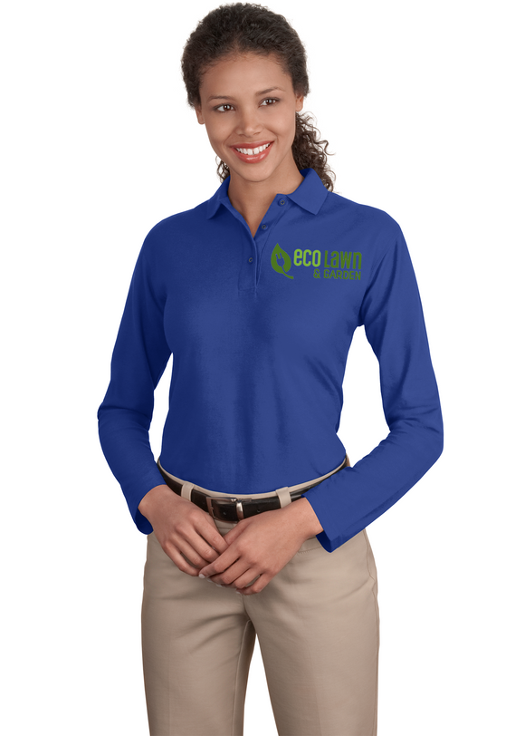 Port Authority Ladies Long Sleeve Polo Royal Custom Embroidered L500LS
