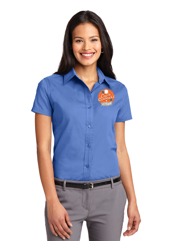 Port Authority Ladies Button Up Polo Custom Embroidered L508 Blue