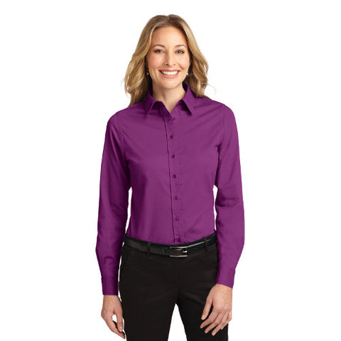embroidered women's long sleeve button down