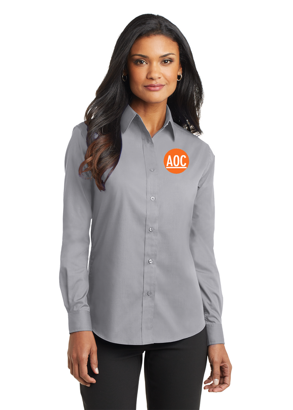 Port Authority Ladies Long Sleeve Button Up Grey Custom Embroidered L632