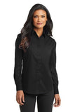 Port Authority Ladies Long Sleeve Button Up Black Custom Embroidered L632