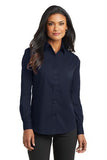 Port Authority Ladies Long Sleeve Button Up Navy Custom Embroidered L632