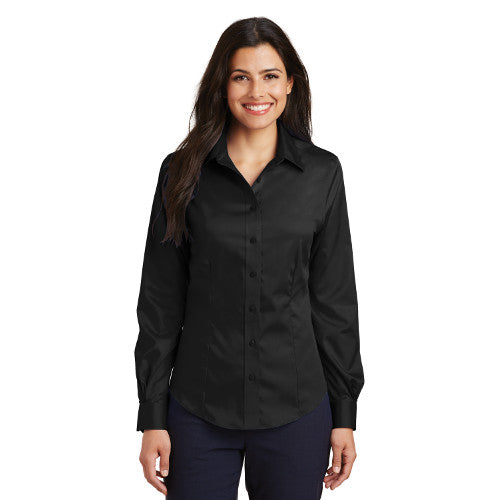 Port Authority Ladies Button up Black Custom Embroidered L638