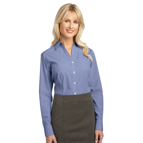Port Authority Ladies Button up Charcoal Custom Embroidered L639
