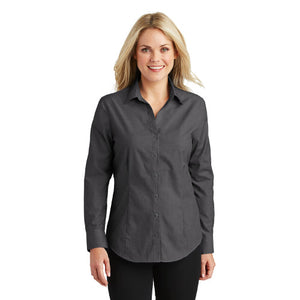 Port Authority Ladies Button Up Soft Black Custom Embroidered L640