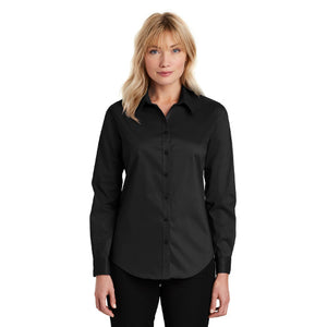 Port Authority Ladies Stetch Button Up Poplin Shirt Custom Embroidered L646 Black